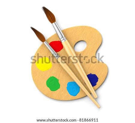 Artists's palette isolated on white. Computer generated image. - stock photo