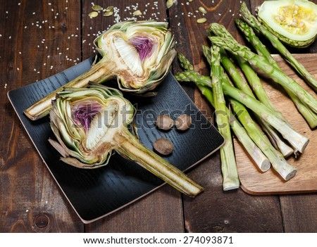 artochoke and aspargus - stock photo