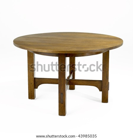 arts and crafts oak table - stock photo