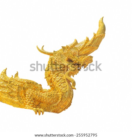Arts of Buddhism - King of Naga statue in Thailand temple isolated on white. - stock photo
