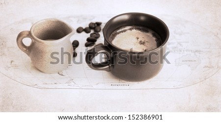 artwork  in grunge style,  two cups of coffee, milk jug, coffee beans, world political map - stock photo
