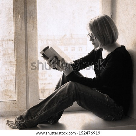 artwork  in retro style,  girl reading the book - stock photo