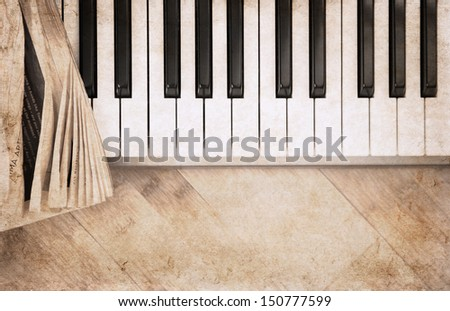 artwork  in vintage style,  forte piano - stock photo