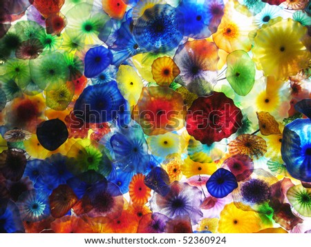 Artwork of Glass Flowers by Dale Chihuly - stock photo
