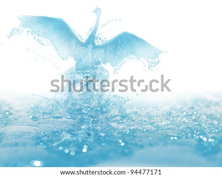 artwork of liquid bird born and fly from water - stock photo