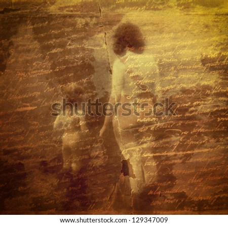 Artwork of my own - Loveletter written by my grandgrandfather -  film grain added to emphazise the mood. - stock photo