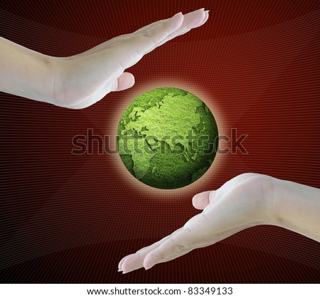 artwork of subject in both hands with business concept. - stock photo