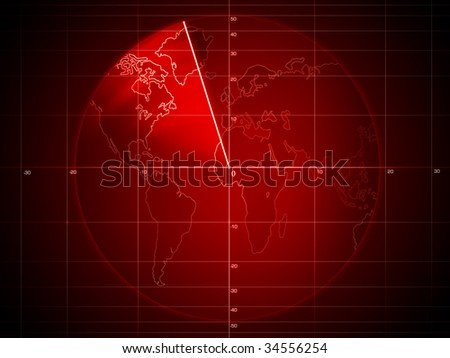 Artwork - Radar screen with details - stock photo
