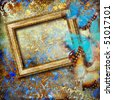 artwork with blank frame and butterflies in golden-blue colors - stock photo