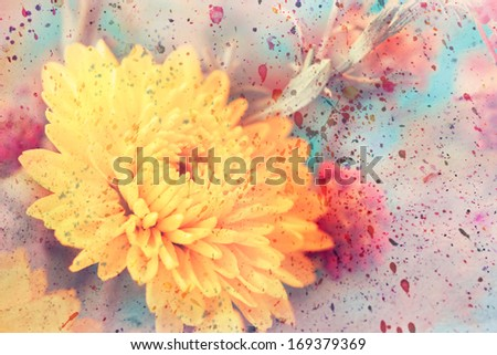 artwork with cute yellow aster's flower and watercolor splatter - stock photo