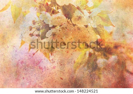 artwork with delicate apple tree flowers and watercolor strokes - stock photo