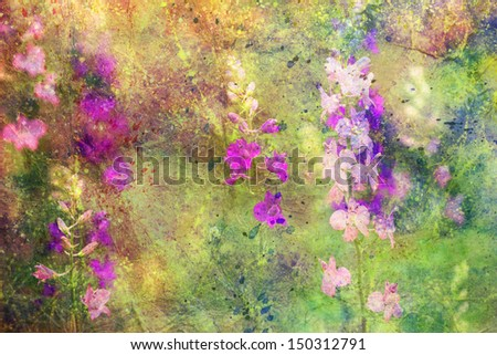 artwork with flowers and colorful watercolor strokes - stock photo