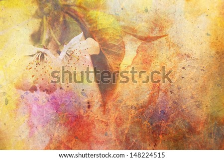 artwork with fragile apple tree flowers and watercolor strokes - stock photo