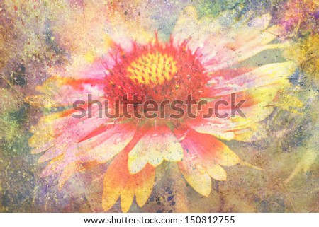 artwork with yellow and red flower and watercolor strokes - stock photo