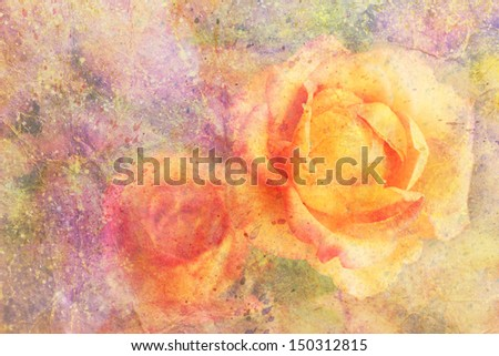 artwork with yellow rose and watercolor splatter - stock photo
