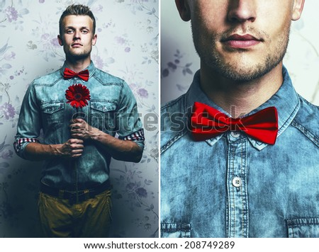 Arty fashion collage of a hipster young and handsome man in blue jeans shirt, brown pants and red bow-tie with a red flower over vintage background. Pensive emotive face. Close up. Studio shot - stock photo