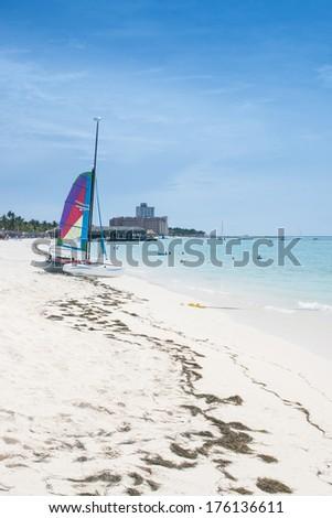 Aruba Beach on a sunny day - stock photo