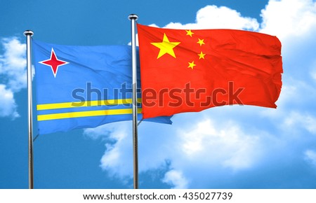 aruba flag with China flag, 3D rendering