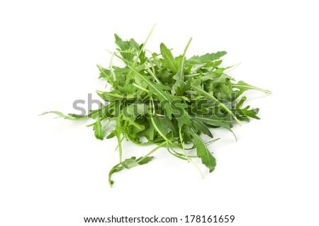 Arugula leaves isolated on white - stock photo