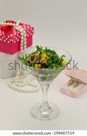 Arugula salad with shrimps and mango - stock photo