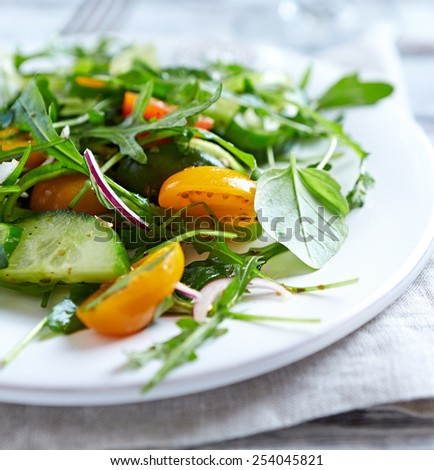 Arugula salad with tomatoes and cucumber  - stock photo