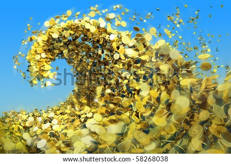 As a huge tsunami wave of gold coins symbolize success and good profits - stock photo
