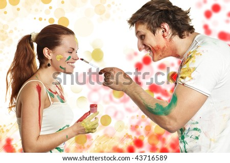 As a woman man brush - stock photo