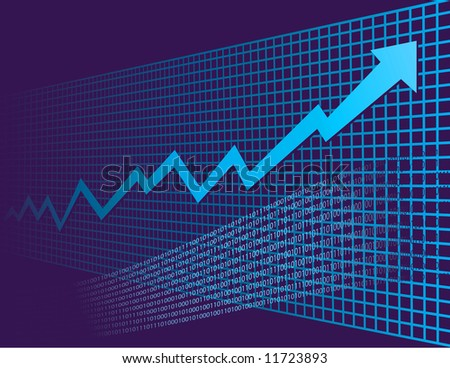 As background graph disappears into perspective, a growth arrow rockets into the future - stock photo