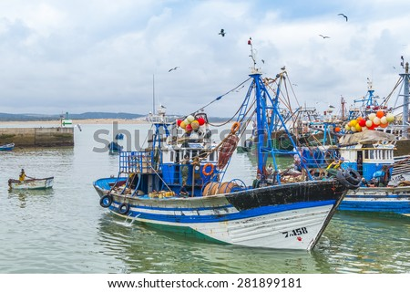 AS-SAWIRA, MOROCCO, APRIL 7, 2015: Fishing boats moor in port - stock photo