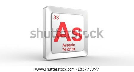 As symbol 33 material for Arsenic chemical element of the periodic table - stock photo