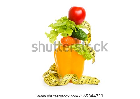 as the concept of healthy food diet (pepper, cucumber, tomato, lettuce, carrots) - stock photo