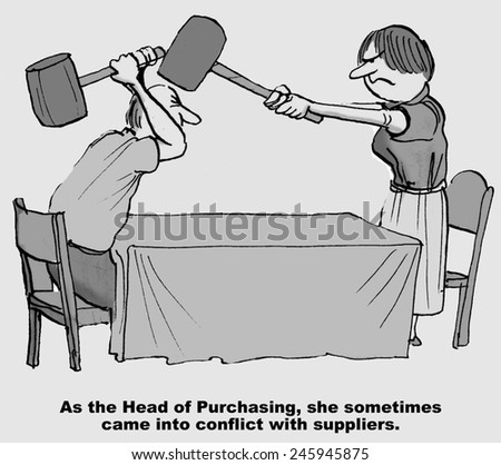As the Head of Purchasing, she sometimes came into conflict with suppliers. - stock photo