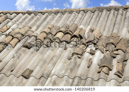 Asbestos roof in Greece - stock photo