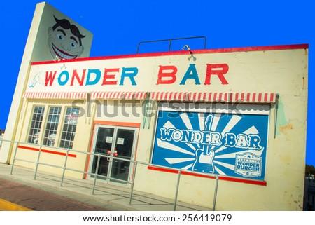 ASBURY PARK, NJ - SEPTEMBER 21, 2013:  View of Jersey shore landmark Wonder Bar in Asbury Park.   - stock photo