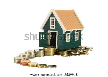 Ascending and winding money road leading to a house - real estate concept - isolated