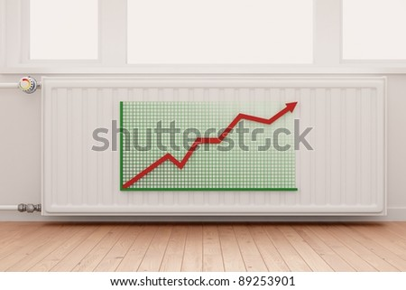 Ascending Arrow Graph on central heating radiator conceptual of increasing costs of energy. - stock photo