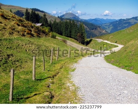 Ascent to the Wiegalm, looking towards Brixen im Thale, Tyrol - stock photo