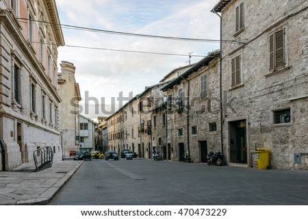 ASCOLI PICENO, ITALY - AUGUST 17, 2016: The city of Ascoli Piceno at dusk with its typical architecture and medieval touch