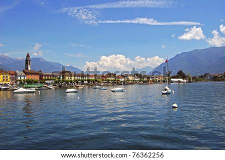 Ascona town on shore of lake Maggiore - stock photo