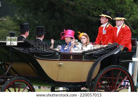ASCOT - JUN 19: Princess Anne, The Princess Royal and Princess Beatrice attend Ladies Day at Royal Ascot at Ascot racecourse on Jun 19, 2014 in Ascot - stock photo
