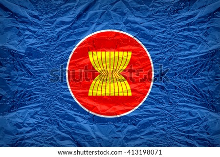 ASEAN Economic Community flag pattern overlay on floyd of candy shell, vintage border style - stock photo