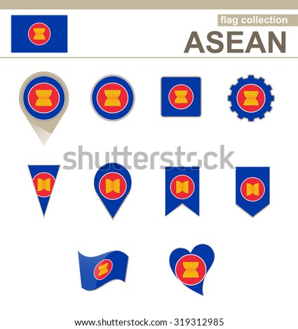 ASEAN Flag Collection, 12 versions, Rasterized Copy - stock photo