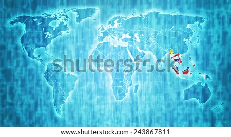 ASEAN members flags on blue digital world map with actual national borders - stock photo