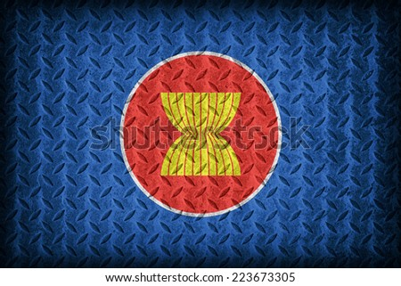 Asean or AEC flag pattern on the diamond metal plate texture ,vintage style - stock photo