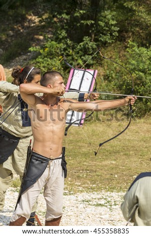 ASENVOGRAD, BULGARIA - JUNE 25, 2016 - Medieval fair in Asenovgrad recreating the life of Bulgarians during the Middle ages. Bow and arrow shooting contest.