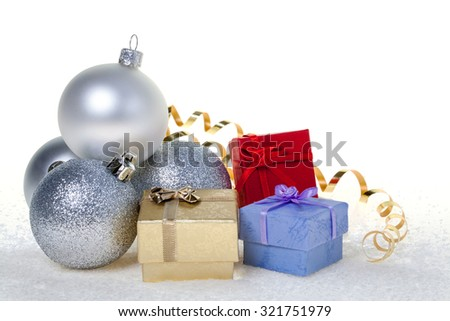 Aset of silver glass New Year toys - stock photo