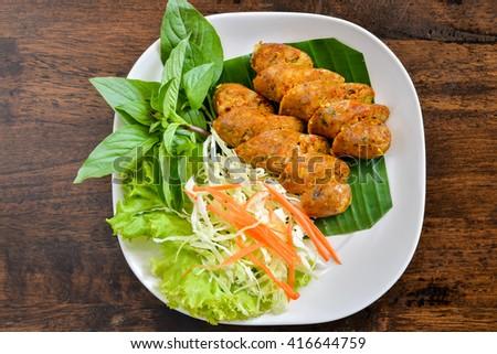 Asgaew or Thai Style Sausage - stock photo