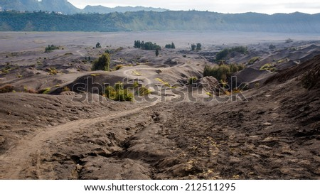 Ash sand of the foot of Mt.Bromo, Indonesia