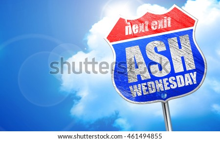 ash wednesday, 3D rendering, blue street sign