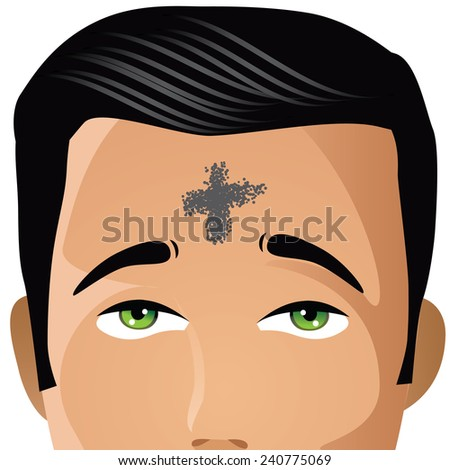 Ash Wednesday man with cross of ashes stock illustration - stock photo